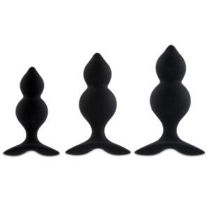 Coffret 3 plugs anal Bibi Twin - noir Feelztoys