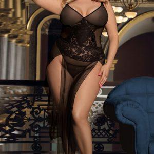 Nuisette longue noire transparente grande taille Paris Hollywood XXXL